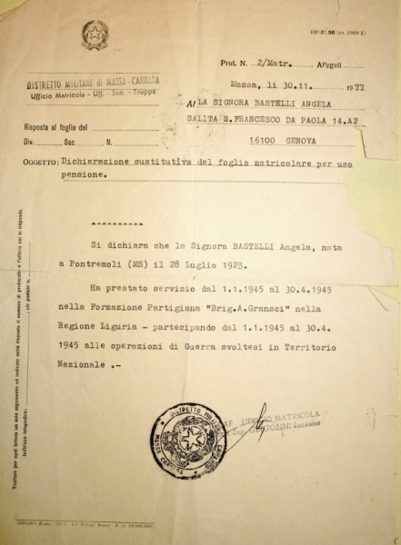 Dichiarazione del Distretto Militare su Angela Bastelli