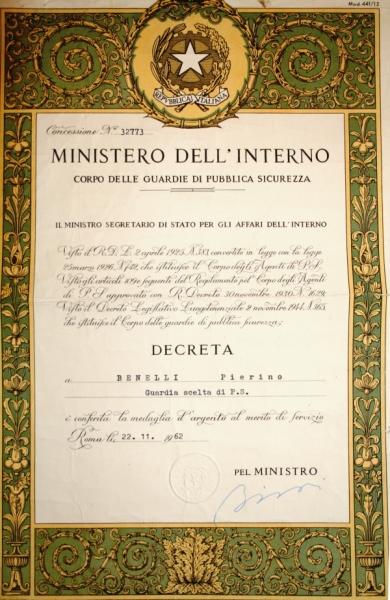 Medaglia d'argento per merito di servizio di Pierino Benelli