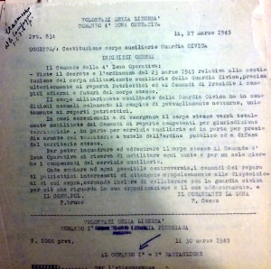 Documento dell'Archivio Storico I.S.R. La Spezia (Busta 233, foglio 1074) da cui risulta la costituzione della Guardia Civica