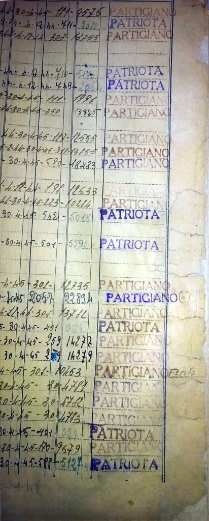 """Immagine 2 - Pagina di Registro in cui si vede chiaramente la stampiglia """"Partigiano"""" o """"Patriota"""": si può notare come non tutte le righe presentino tale stampiglia"""