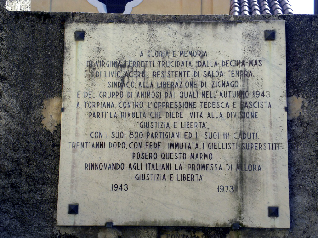 Targa a Torpiana in memoria di alcuni caduti di G.L.