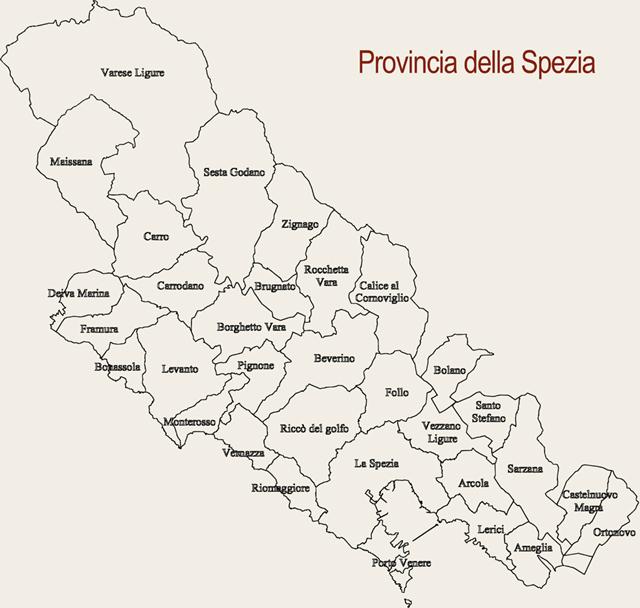 I Comuni della Provincia della Spezia
