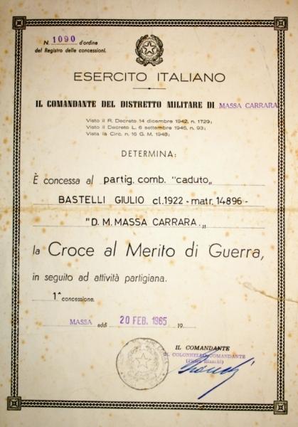 Croce di Guerra per Giulio Bastelli