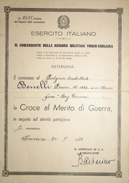 Croce al merito di Pierino Benelli